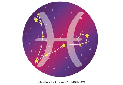Pisces signs, zodiac background, beautiful and simple vector images in the midst of a starry galaxy with a constellation of Pisces in the front of the sphere with the Pisces symbol.