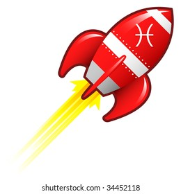Pisces zodiac astrology sign on on red retro rocket ship illustration