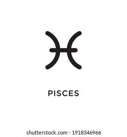 Pisces zodiac illustration. Simple line pisces zodiac icon. Tattoo pisces zodiac vector symbol. Hand drawing pisces sign