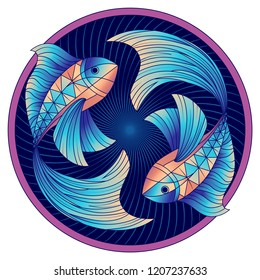 Pisces zodiac sign, astrological, horoscope symbol. Futuristic style icon. Stylized graphic blue two fish swimming in a circle. The body  is decorated with the geometric pattern. Vector illustration.