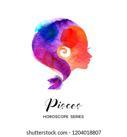 Pisces zodiac sign. Beautiful girl silhouette. Vector illustration. Horoscope series