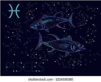 Pisces Zodiac sign and constellation. Two fishes on a cosmic dark blue background with stars. Hand drawn vintage engraving style vector illustration. Space, astrology, horoscope, astronomy design.
