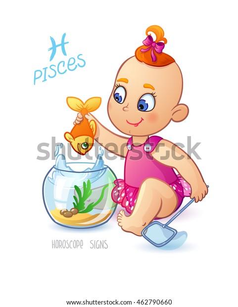 Pisces Zodiac Sign Horoscope Sign Pisces Stock Vector