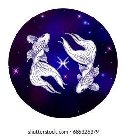 Pisces zodiac sign, horoscope symbol, vector illustration