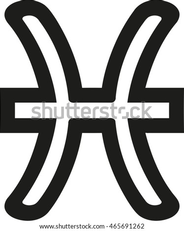 Pisces Zodiac Sign Outline Stock Vector Royalty Free 465691262