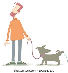 Pissing dog. Illustration of a man holding his dog on a leash. The dog is urinating and the young man becomes confused.