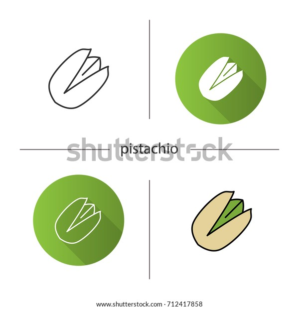 Pistachio icon. Flat design, linear and color styles. Isolated vector illustrations