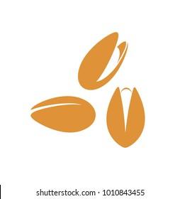 Pistachio nut  logo. Isolated pistachio nut on white background.  EPS 10. Vector illustration