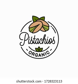 Pistachio nut logo. Round linear logo of pistachios on white background