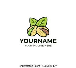 Pistachios nuts with green leaves, logo template. Pistachio seed with shell and leaf, vector design. Vegetarian and organic, natural food and nutrition, illustration