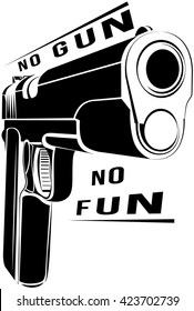 Pistol 1911 gun fire. 45 caliber. Pistol emblem logo. Criminal arm pistol gun and danger military weapon. No gun no fun