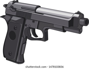 Pistol 3d style isolated on white background