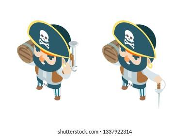 Pistol black powder flintlock corsair pirate ship buccaneer filibuster sea dog sailor fantasy treasure RPG game isometric character flat design vector illustration
