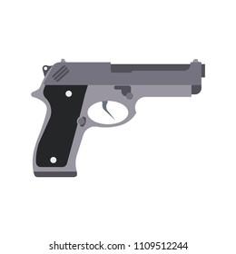 Pistol etching vector icon illustration. Gun western vintage 45 engraving logo silhouette. Horror detective powder weapon symbol poster. Mafia or cartel assassin magnum desert eagle isolated.