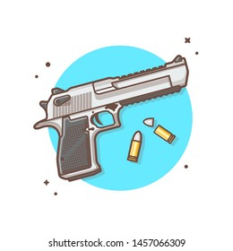 Pistol Gun with Bullets Vector Illustration. Haeadshot. Weapon Icon Illustration. Pistol Cartoon Logo Vector Flat Cartoon Style Suitable for Web Landing Page,  Banner, Flyer, Sticker, Card, Background