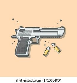 Pistol Gun with Bullets Vector Illustration. Haeadshot. Weapon Icon Illustration. Pistol Cartoon Logo Vector Flat Cartoon Style Suitable for Web Landing Page,  Banner, Flyer, Sticker, Card, Background