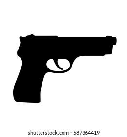 Pistol gun, handgun, black isolated icon, vector illustration.