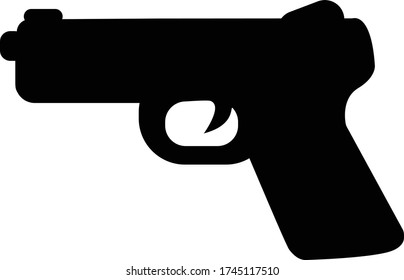 pistol gun icon on white background. flat style. gun icon for your web site design, logo, app, UI. weapon symbol. military equipment sign.