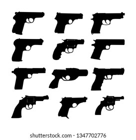 Pistol Gun Icon Vector Illustration isolated on white background. Risk in conflict situation. police and military weapon. Defense help option against enemy aggressor. Pistol gun, revolver collection.