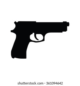 Pistol Gun Icon Vector Illustration on the white background.