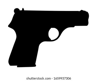 Pistol Gun Icon Vector silhouette Illustration isolated on white background. Police and military weapon. Defense help option against enemy aggressor in conflict situation. Anti terrorism action.