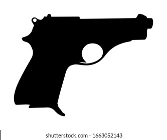 Pistol Gun Icon Vector silhouette isolated on white background. Risk in conflict situation. police and military weapon. Defense help option against enemy aggressor.