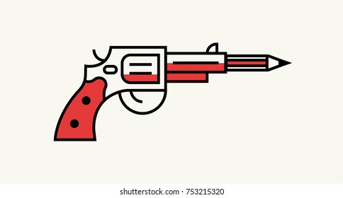 Pistol Gun shooting pencil. Vector Illustration of Gun and Pencil