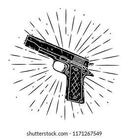 Pistol. Hand drawn vector illustration with pistol and divergent rays. Used for poster, banner, web, t-shirt print, bag print, badges, flyer, logo design and more.