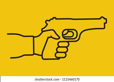 Pistol hold in hand male. Minimal icon black linear. Gun pictogram in man. Firearms silhouette isolated on background. Man is armed for protection or attack. Vector illustration flat design.