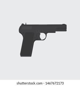 Pistol icon vector. Pistol sign on grey background. Pistol icon for web and app. Handgun icon. Gun vector. Vector illustration. Eps10