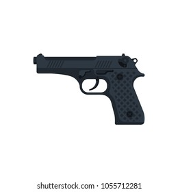 Pistol isolated on white background. Automatic weapon. Handgun police. Semi-automatic pistol. Vector illustration flat design. Gun firearms.
