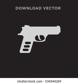 Pistol isolated vector icon on black background