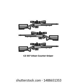 pistol logo vector : cs 557 urban counter siper