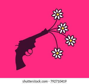 Pistol and revolver with flowers. Metaphor of peace and peaceful avoidance to shoot and kill with weapon and gun. Vector illustration