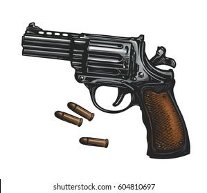 Pistol, revolver gun and ammo, sketch. Vintage vector illustration