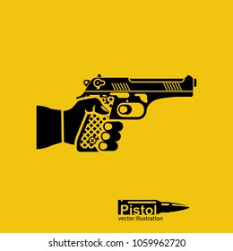 Pistol silhouette,hold in hand male. Gun pictogram in man. Firearms isolated on background. Man is armed for protection or attack. Vector illustration flat design. attacker or cop.