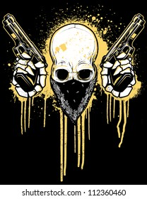 Pistol Toting Skull with Bandana Vector illustration of a skull wearing a black bandana over his face while holding two 9mm pistols in front of a dripping splatter paint graffiti - urban background.