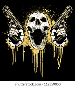 Pistol Toting Skull Vector illustration of a skull toting two 9mm pistols. Skull is screaming while holding pistols in front of a dripping splatter paint graffiti - urban background.