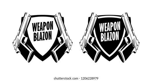 Pistol Weapon logo label emblem. Vector Blazon Badge with Handgun illustration on white background.