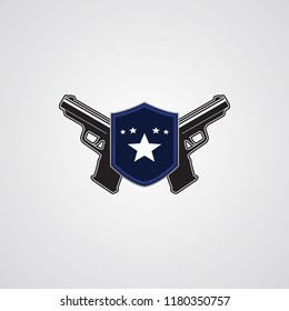 Pistols with shield as an emblem logo template