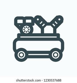 Piston air compressor, portable gasoline air compressor vector icon