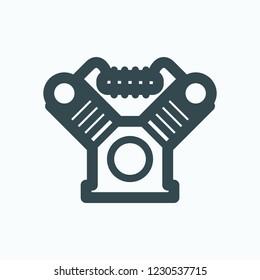 Piston block for air compressor icon, twin cylinder piston vector icon