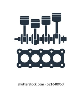 piston, crankshaft, Cylinder block, internal combustion engine, isolated icon on white background, auto service, repair, car detail