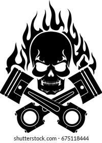 Piston Flamed Skull