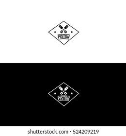 Piston motor logo design set hipster vintage inverse variant