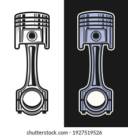 Piston vector objects in two styles black on white and colorful on dark background