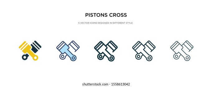 pistons cross icon in different style vector illustration. two colored and black pistons cross vector icons designed in filled, outline, line and stroke style can be used for web, mobile, ui