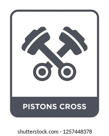 pistons cross icon vector on white background, pistons cross trendy filled icons from Mechanicons collection, pistons cross simple element illustration