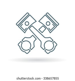 Pistons and rods icon. Conrods sign. Vehicle engine parts symbol. Thin line icon on white background. Vector illustration.