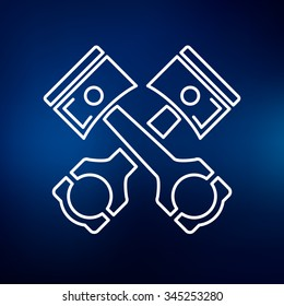 Pistons and rods icon. Conrods sign. Vehicle performance parts workshop symbol. Thin line icon on blue background. Vector illustration.
